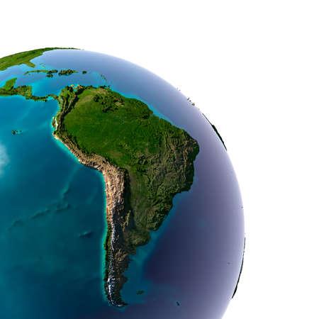 Země s průsvitnou vodou v oceánech a detailní topografii kontinentů Detail Země s Jižní Amerikou, izolovaných na bílém