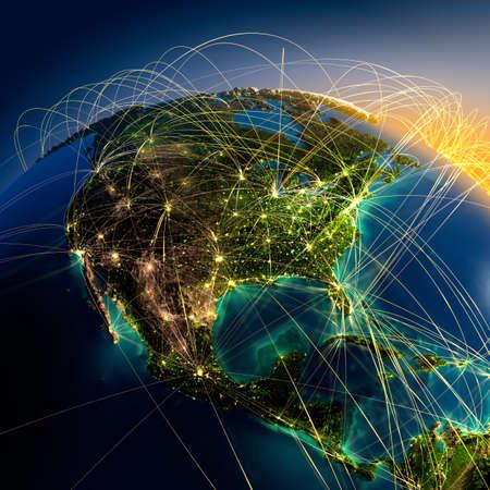 Bardzo szczegółowo Ziemię w nocy z wytłoczonymi kontynentach, oświetlonych światłem miast, przezroczystych i oceanu odblaskowej. Ziemia otoczona jest świetlistą sieci, co stanowi główne połączeń lotniczych na podstawie rzeczywistych danych
