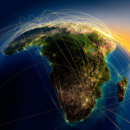 map of africa: Highly detailed planet Earth at night with embossed continents, illuminated by light of cities, translucent and reflective ocean  Earth is surrounded by a luminous network, representing the major air routes based on real data