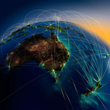 australia: Highly detailed planet Earth at night with embossed continents, illuminated by light of cities, translucent and reflective ocean  Earth is surrounded by a luminous network, representing the major air routes based on real data