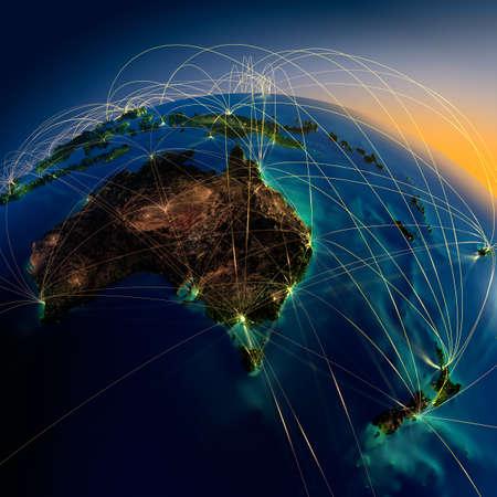 Zeer gedetailleerde planeet Aarde 's nachts met reliëf continenten, verlicht door het licht van steden, doorschijnende en reflecterende oceaan de aarde wordt omringd door een lichtgevende netwerk, die de belangrijke luchtverbindingen basis van feitelijke gegevens