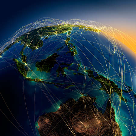エンボス加工の大陸との夜に地球を非常に詳細な都市の光に照らされた、半透明と反射の海洋地球は囲まれて明るいネットワークは、実際のデータ