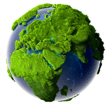 ecology  environment: Earth with a pure transparent ocean is completely covered with lush green grass - a symbol of a clean environment, rich in natural resources and good environmental conditions. Stock Photo