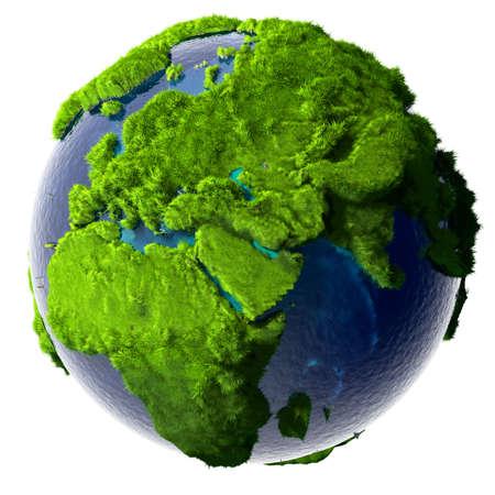 green planet: Terre avec un oc�an pur et transparent est enti�rement recouverte d'herbe verte luxuriante - un symbole d'un environnement propre, riche en ressources naturelles et de bonnes conditions environnementales.