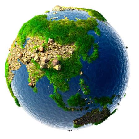 planeta verde: Naturaleza concepto detallado de la Tierra en miniatura - desiertos de arena, monta�as rocosas, la hierba y el agua del oc�ano se basa en datos reales f�sicas. Aislados en blanco Foto de archivo