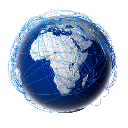 Earth with relief stylized continents surrounded by a wired network Stock Photo - 15237068