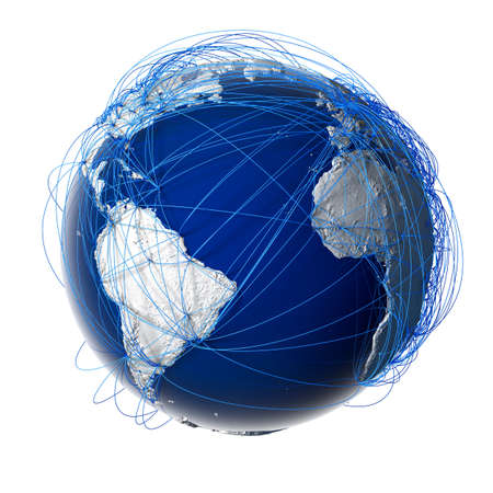 Earth with relief stylized continents surrounded by a wired network photo