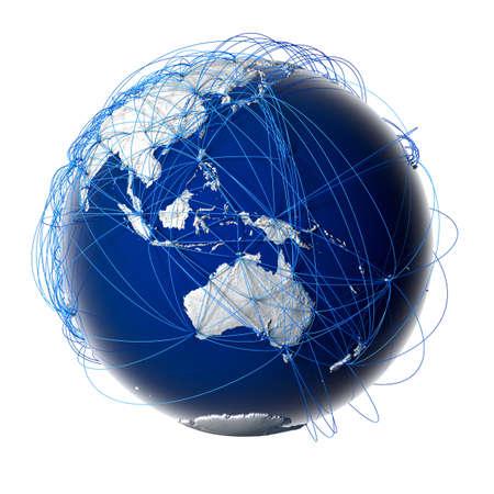 Aarde met reliëf gestileerde continenten omgeven door een bekabeld netwerk