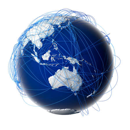 Tierra con los continentes de socorro estilizados rodeados por una red cableada