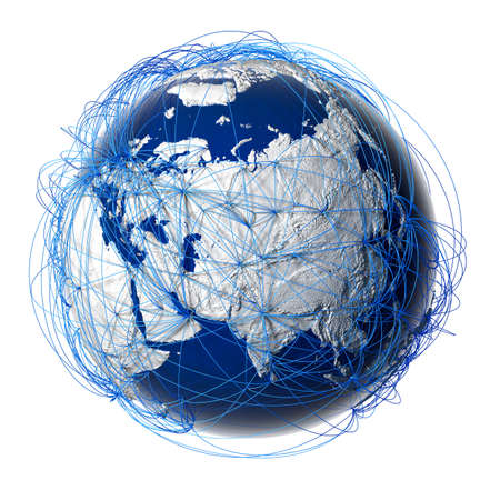surrounded: Earth with relief stylized continents surrounded by a wired network