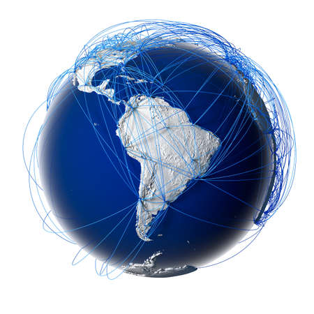 trajectory: Earth with relief stylized continents surrounded by a wired network