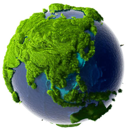 Earth with a pure transparent ocean is completely covered with lush green grass