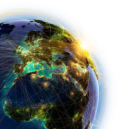 negocios internacionales: Planeta Tierra altamente detallada sobre un fondo blanco