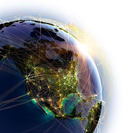 globo terraqueo: Planeta Tierra altamente detallada sobre un fondo blanco