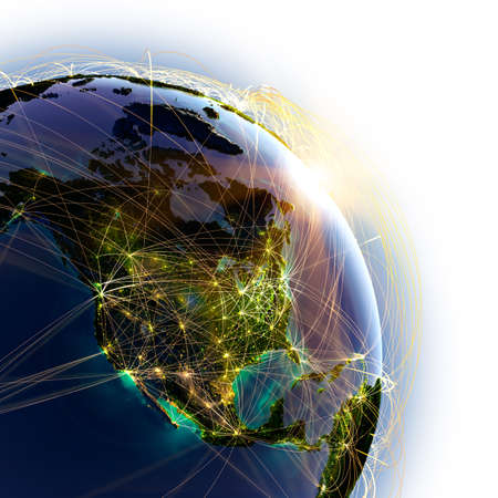 trajectoire: Terre tr�s d�taill�es sur un fond blanc Banque d'images