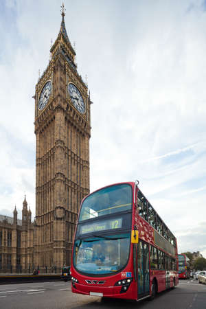 Big Ben with red double-decker in London, UK  Cityscape shot with tilt-shift lens, the vertical lines of the object stored Stock Photo - 17654167