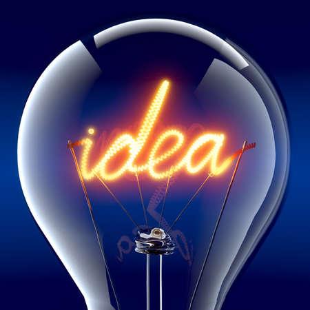 Tungsten Spirale in der Form des Wortes Idee - eine Metapher für kreative Energie, auf wundersame Weise zündet in einem Glaskolben Standard-Bild