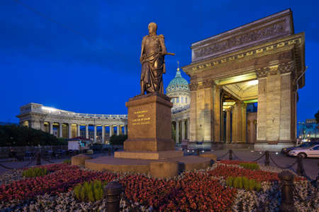 st  petersburg: St  Petersburg  Kazan Cathedral  Monument to Barclay de Tolly Stock Photo