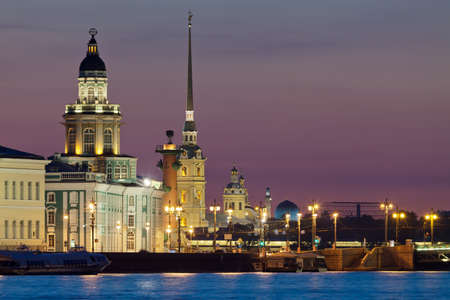 The iconic view of St  Petersburg White Night - Curiosities, Vasilievsky Island with Rostral columns, Peter and Paul Fortress and mosque in one shot  Russia
