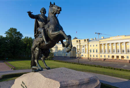 synod: Symbol of St  Petersburg - a monument to the founder of the capital of the Russian Empire, Emperor Peter the Great - The Bronze Horseman  The photo was taken in the early morning with a rare point shooting - with special rigs