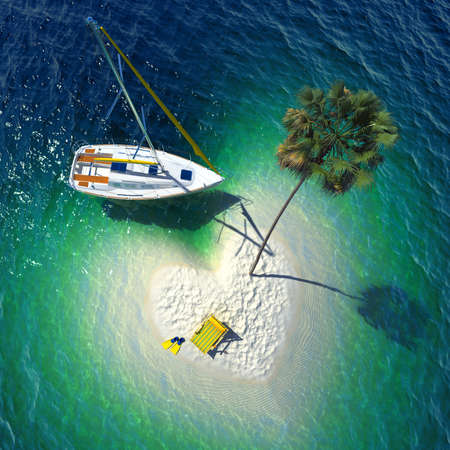 Concept of a wonderful holiday in a tropical paradise - a small sandy heart-shaped tropical island, snow-white yacht, palm and sun bed  Very realistic detailed 3-D graphics