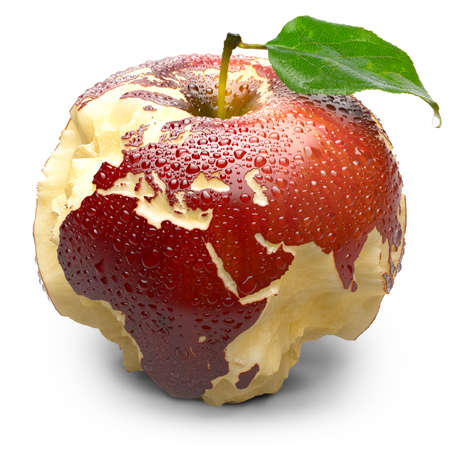earth core: Red ripe apple. Its juicy pulp deeply carved oceans. Apple peel in the form of exact shape of continents is covered with water droplets. Isolated on a white background