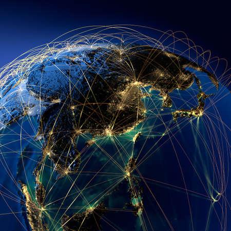 Sehr detailliert Planeten Erde bei Nacht mit geprägtem Kontinenten, durch Licht der Städte, durchscheinende und reflektierende Meer beleuchtet. Die Erde ist von einem leuchtenden Netz umgeben, welche die wichtigen Flugstrecken auf realen Daten