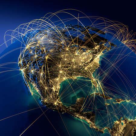 trajectoire: Tr�s d�taill� de la plan�te Terre dans la nuit avec les continents en relief, �clair� par la lumi�re des villes, translucides et de l'oc�an r�fl�chissant. Terre est entour�e d'un r�seau lumineux repr�sentant les grandes voies a�riennes � partir des donn�es r�elles