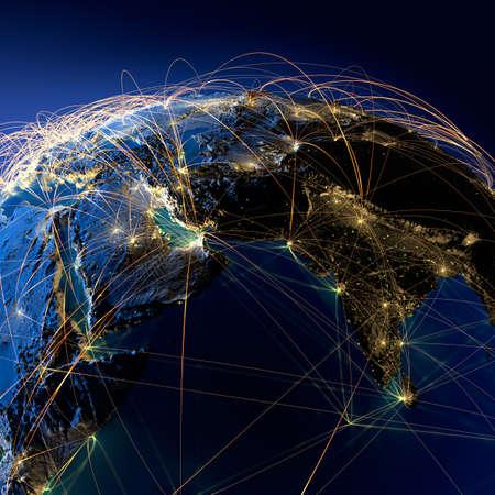 Zeer gedetailleerde planeet Aarde 's nachts met reliëf continenten, verlicht door het licht van steden, doorschijnende en reflecterende oceaan. Aarde wordt omringd door een lichtgevende netwerk, die de belangrijke luchtverbindingen basis van feitelijke gegevens Stockfoto