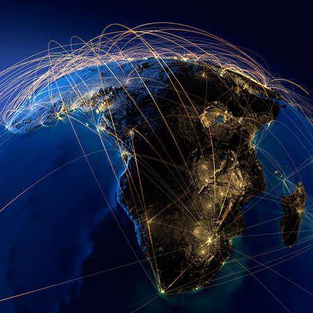 mapa de africa: Planeta Tierra altamente detallado en la noche con los continentes en relieve, iluminado por la luz de las ciudades, translúcidos y de la Tierra océano reflexivo está rodeado por una red luminosa, que representa a los grandes rutas aéreas basadas en datos reales