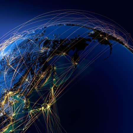 Sehr detaillierte Planeten Erde bei Nacht mit geprägtem Kontinenten, durch Licht der Städte, durchscheinenden und reflektierenden Ozean der Erde beleuchtet wird durch ein leuchtendes Netz umgeben, welche die wichtigen Flugstrecken auf realen Daten Standard-Bild