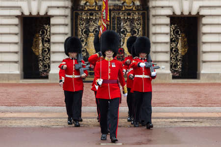 beefeater: BEEFEATERS, LONDON - OCTOBER 18: A Royal Guard at Buckingham Palace parade in London, England. 2012