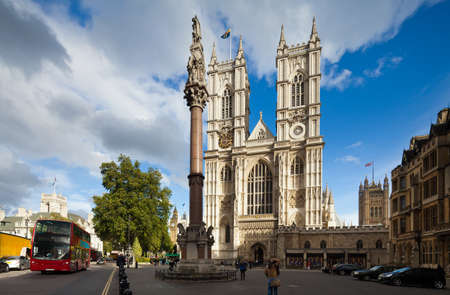 abbey: Front facade of Westminster Abbey on a sunny day  London, UK  Photograph taken with the tilt-shift lens, vertical lines of architecture preserved