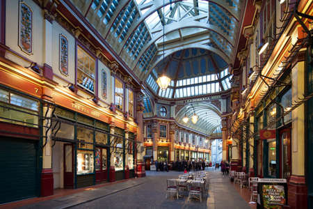 LONDON - OCTOBER 16: Inside view of Leadenhall Market on October 16, 2012 in London, UK. Photograph taken with the tilt-shift lens, vertical lines of architecture preserved