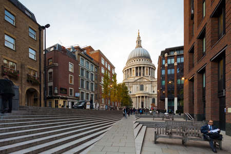 LONDON - OCTOBER 18  pedestrian street leading to the Millennium Bridge near Knightrider Street, view of the St Paul