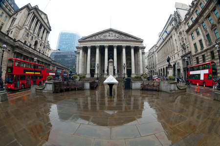 central bank: View of British financial heart, Bank of England and Royal Exchange  Shot made ​​fisheye lens Editorial