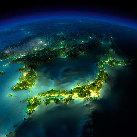 Highly detailed Earth, illuminated by moonlight. The glow of cities sheds light on the detailed exaggerated terrain and translucent water of the oceans. Elements of this image furnished by NASA photo