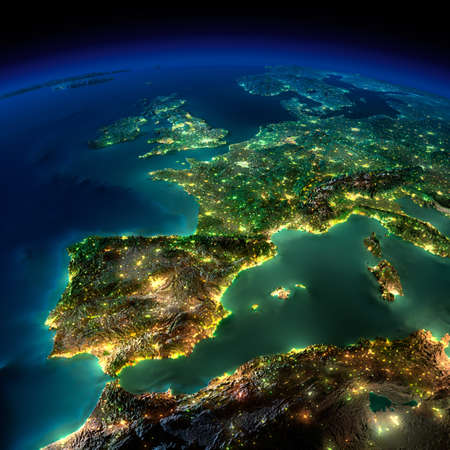 geography of europe: Highly detailed Earth, illuminated by moonlight. The glow of cities sheds light on the detailed exaggerated terrain and translucent water of the oceans. Elements of this image furnished by NASA