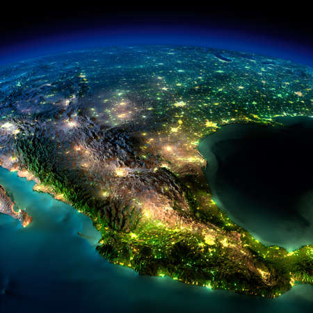 mexico map: Highly detailed Earth, illuminated by moonlight. The glow of cities sheds light on the detailed exaggerated terrain and translucent water of the oceans. Elements of this image furnished by NASA