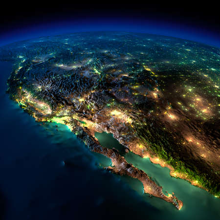 california state: Highly detailed Earth, illuminated by moonlight. The glow of cities sheds light on the detailed exaggerated terrain and translucent water of the oceans. Elements of this image furnished by NASA