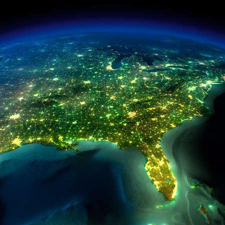 Tierra altamente detallada, iluminada por la luz de la luna. El brillo de las ciudades arroja luz sobre el terreno detallado exagerado y el agua translúcida de los océanos. Elementos de esta imagen proporcionada por la NASA Foto de archivo