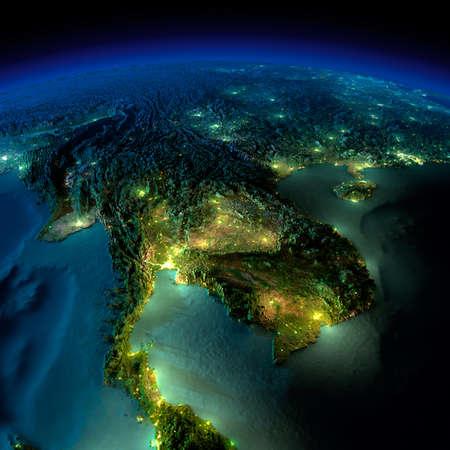 Zeer gedetailleerde aarde, verlicht door het maanlicht. De gloed van steden werpt licht op de gedetailleerde overdreven terrein en doorzichtige water van de oceanen. Elementen van deze afbeelding geleverd door NASA
