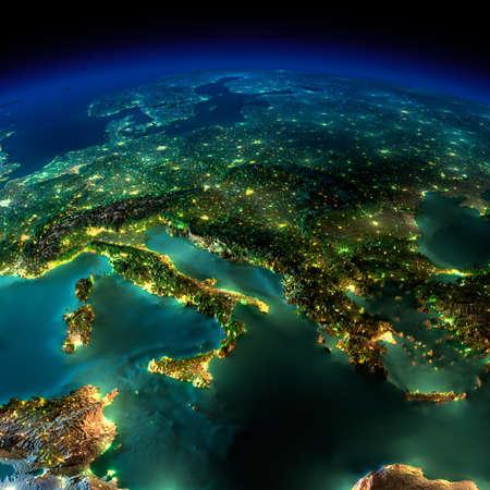 Zeer gedetailleerde aarde, verlicht door het maanlicht. De gloed van steden werpt licht op de gedetailleerde overdreven terrein en doorzichtige water van de oceanen. Elementen van deze afbeelding geleverd bij NASA Stockfoto
