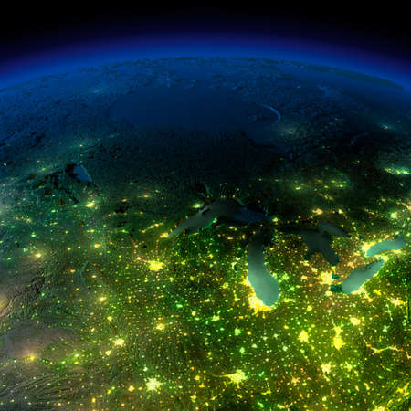 高い地球の詳細は、月明かりで照らされました。都市の輝きは、詳細な誇張された地形と海の半透明な水に光を投げかけています。このイメージの N