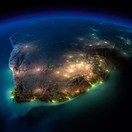 angola: Highly detailed Earth, illuminated by moonlight. The glow of cities sheds light on the detailed exaggerated terrain and translucent water of the oceans. Elements of this image furnished by NASA