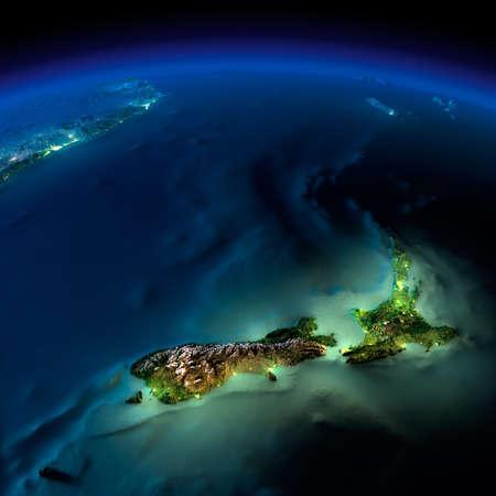 Terra altamente dettagliata, illuminata dalla luce della luna. Il bagliore della città mette in luce il terreno esagerata dettagliata e traslucido acqua degli oceani. Elementi di questa immagine fornita dalla NASA