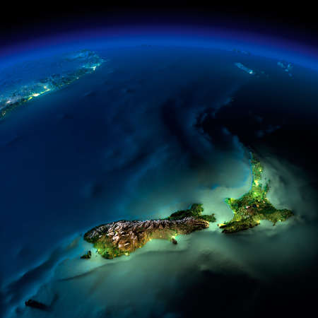 Nuova Guinea: Terra altamente dettagliata, illuminata dalla luce della luna. Il bagliore della citt� mette in luce il terreno esagerata dettagliata e traslucido acqua degli oceani. Elementi di questa immagine fornita dalla NASA