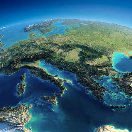 Planeta Tierra altamente detallado en la mañana de socorro precisa exagerada iluminado sol de la mañana parte de Europa - Italia, Grecia y el Mediterráneo Foto de archivo