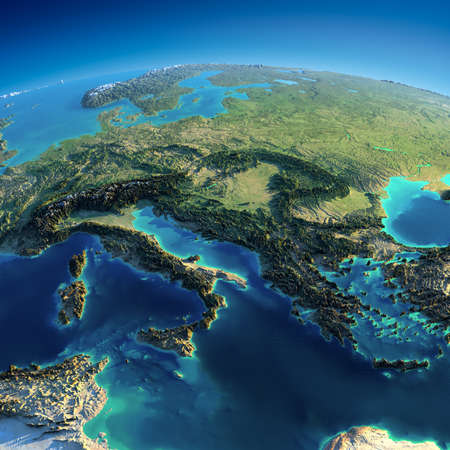Sehr detaillierte Planeten Erde in den Morgen Übertriebene präzise Erleichterung leuchtet Morgensonne Teil Europas - Italien, Griechenland und das Mittelmeer Standard-Bild