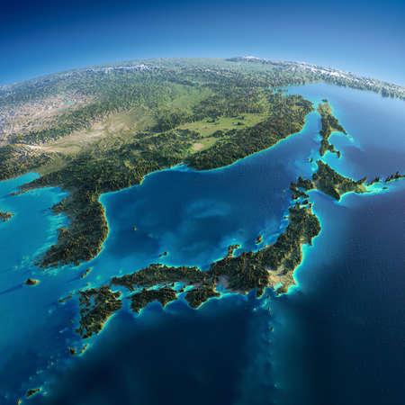 아침에 매우 상세한 행성 지구는 아시아, 일본 바다의 정확한 구호 조명 아침 해 부품을 과장